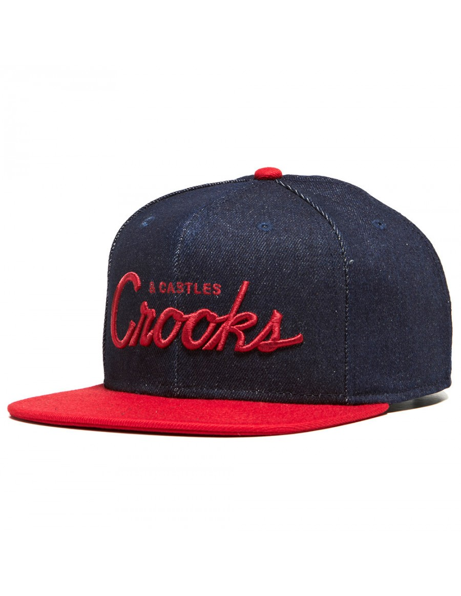 Crooks & Castles Blue Woven Snapback Cap - Team Crooks Denim - Sale