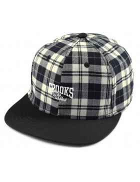 Crooks & Castles Core logo Plaid snapback black - white