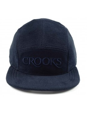 Crooks & Castles Serif tweed 5 panel cap navy
